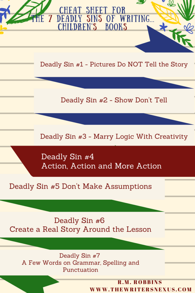 cheat sheet for 7 deadly sins of Writing Children's Books