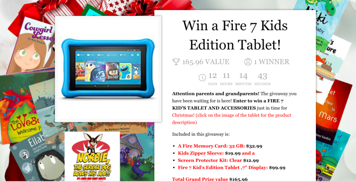 Click HERE To Win A KINDLE FIRE 7 KID'S TABLET & ACCESSORIES!
